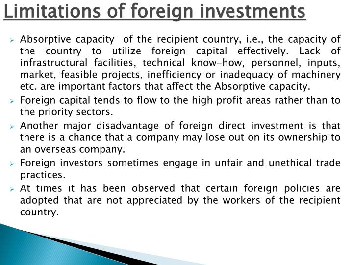 Limitations of foreign investments