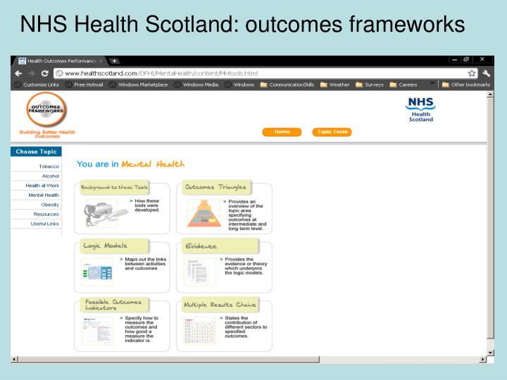 NHS Health Scotland: outcomes frameworks