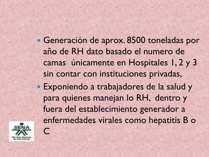 Generación de aprox. 8500 toneladas por año de RH dato basado el numero de camas  únicamente en Hospitales 1, 2 y 3 sin contar con instituciones privadas,