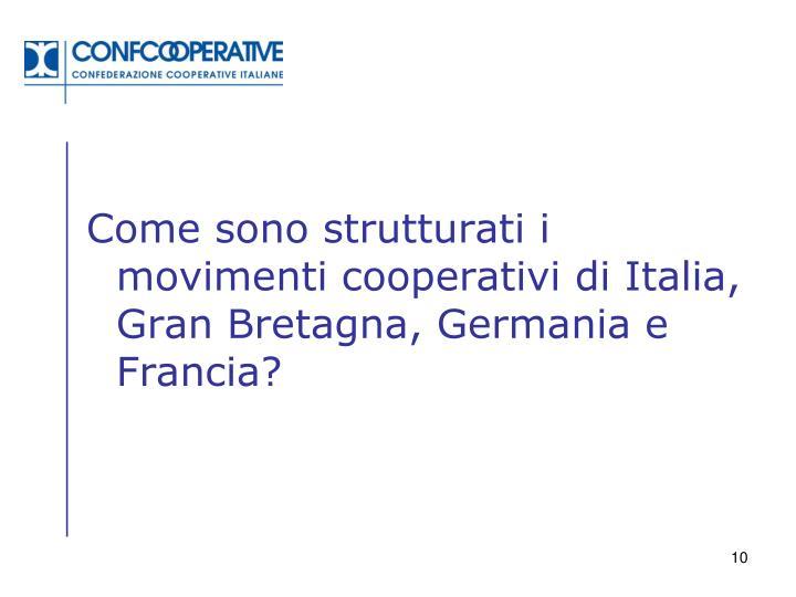 Come sono strutturati i movimenti cooperativi di Italia, Gran Bretagna, Germania e Francia?
