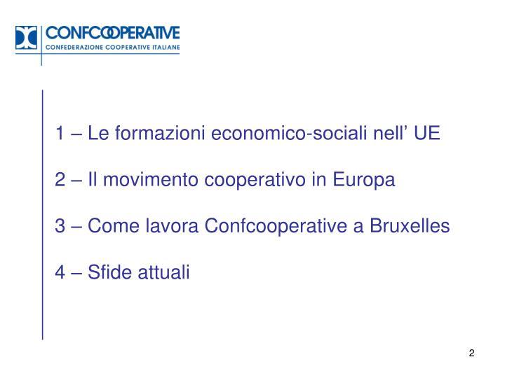 1 – Le formazioni economico-sociali nell' UE