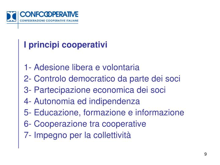 I principi cooperativi