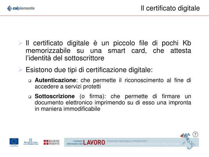 Il certificato digitale
