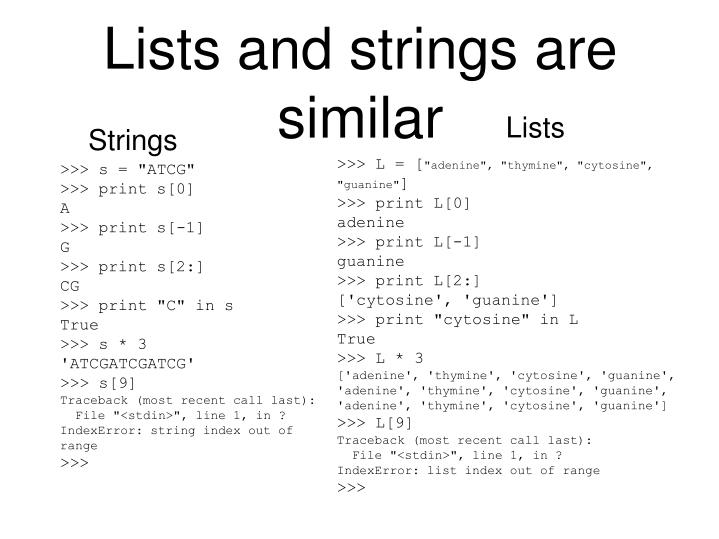 Lists and strings are similar