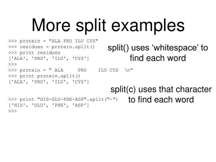 More split examples