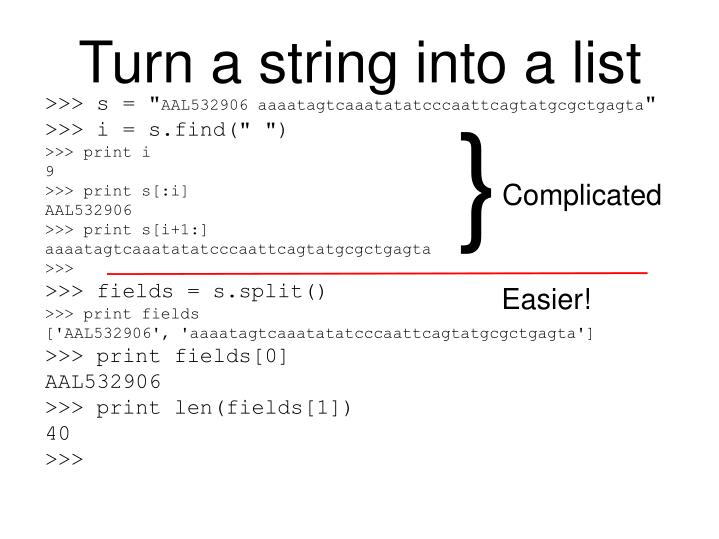 Turn a string into a list