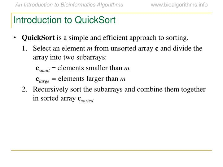 Introduction to QuickSort