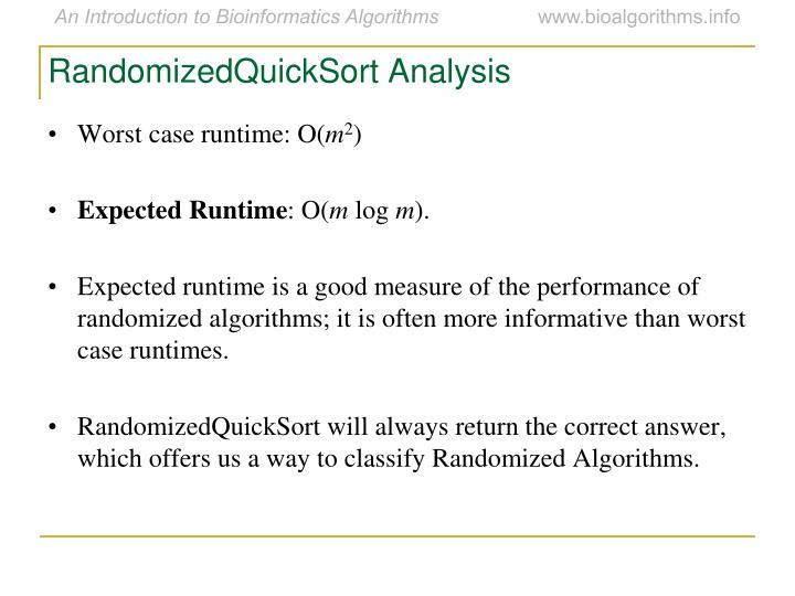 RandomizedQuickSort Analysis