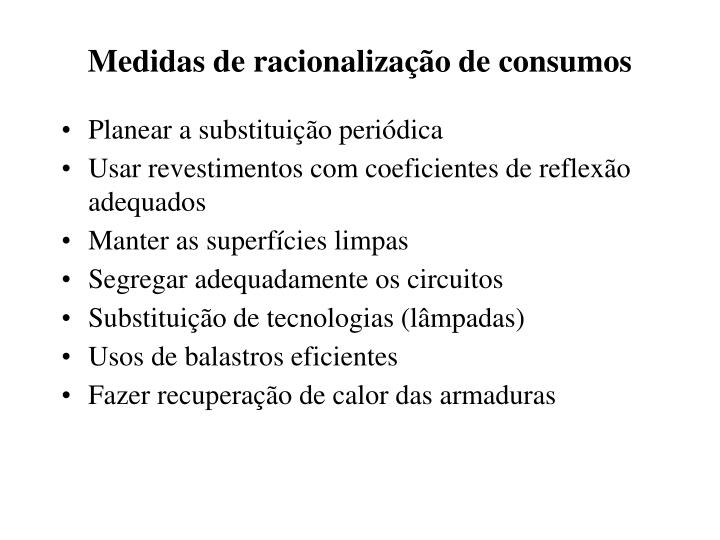 Medidas de racionalização de consumos