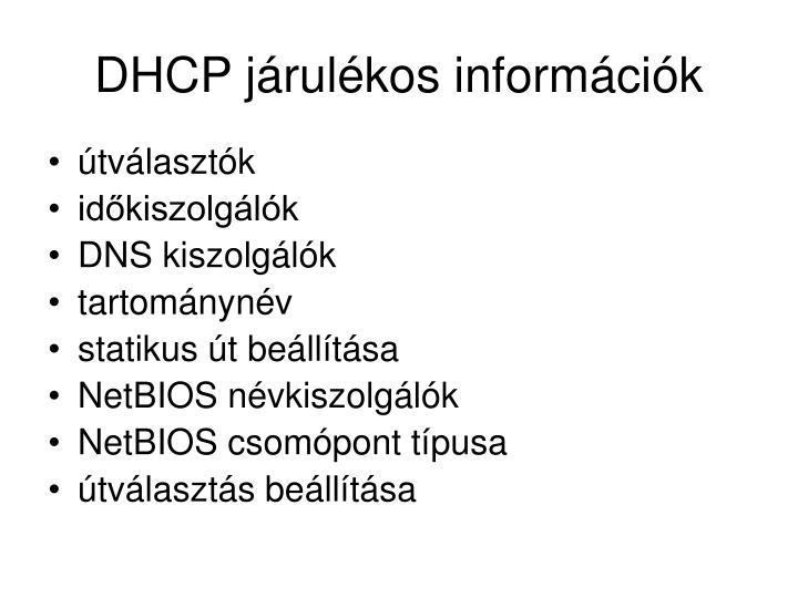 DHCP járulékos információk