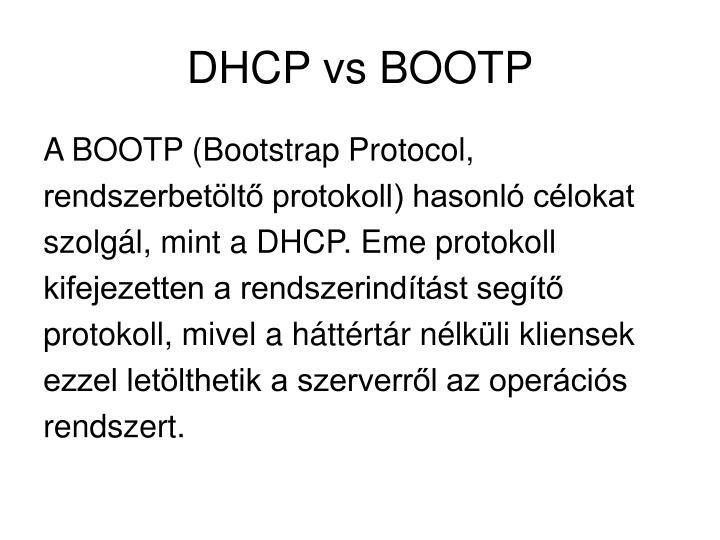 DHCP vs BOOTP