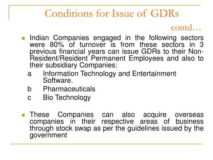 Conditions for Issue of GDRs
