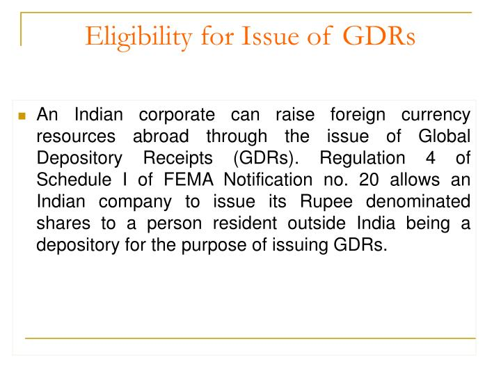 Eligibility for issue of gdrs