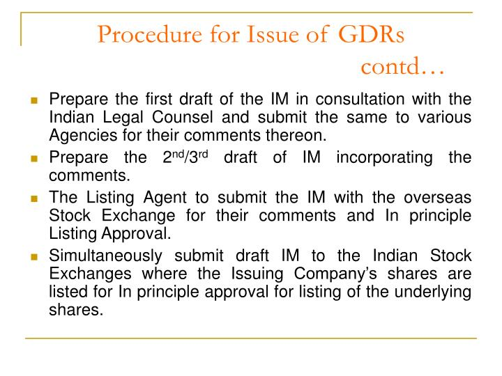 Procedure for Issue of GDRs