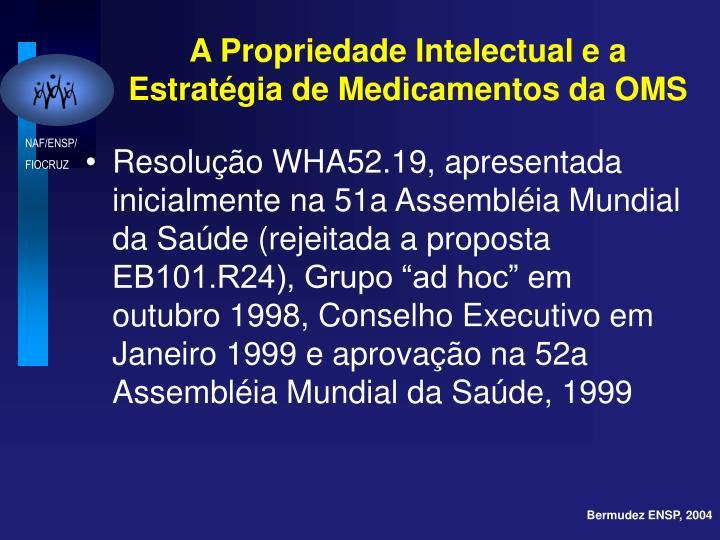 A Propriedade Intelectual e a Estratégia de Medicamentos da OMS