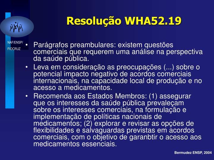 Resolução WHA52.19