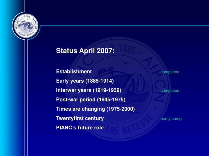 Status April 2007: