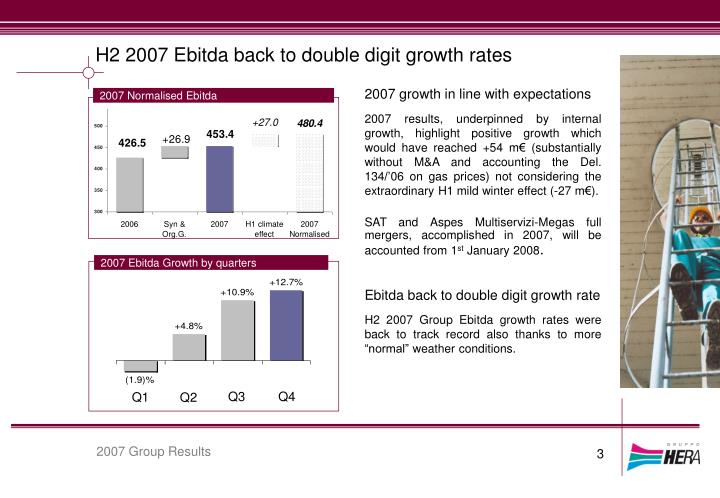 H2 2007 Ebitda back to double digit growth rates