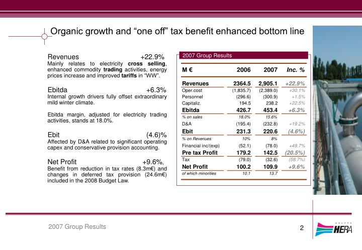 "Organic growth and ""one off"" tax benefit enhanced bottom line"