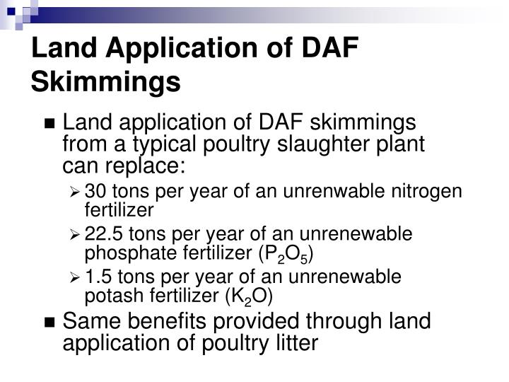 Land Application of DAF Skimmings