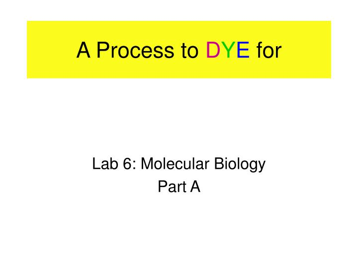 a process to d y e for