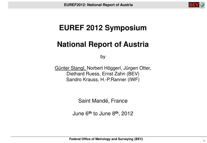 EUREF 2012 Symposium