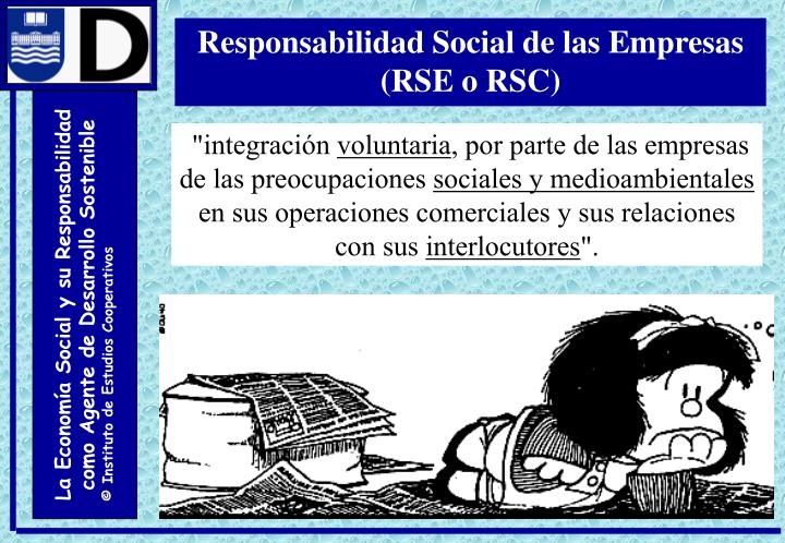 Responsabilidad Social de las Empresas (RSE o RSC)