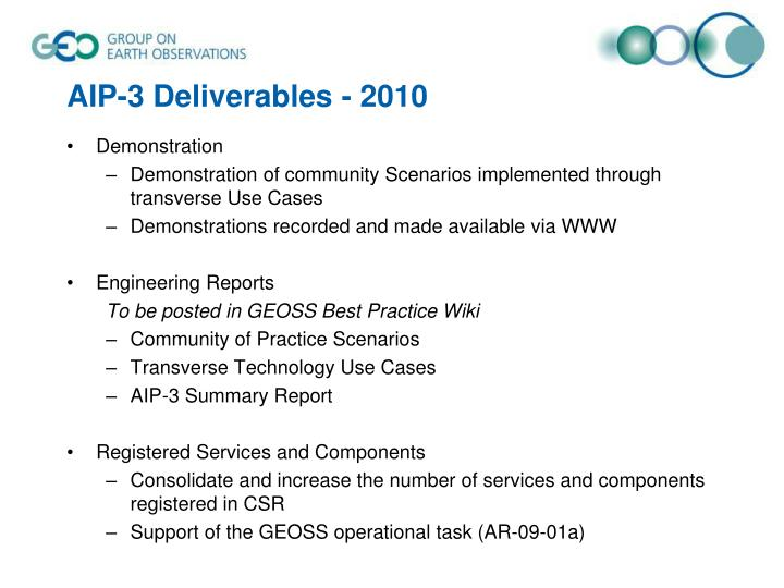 AIP-3 Deliverables - 2010