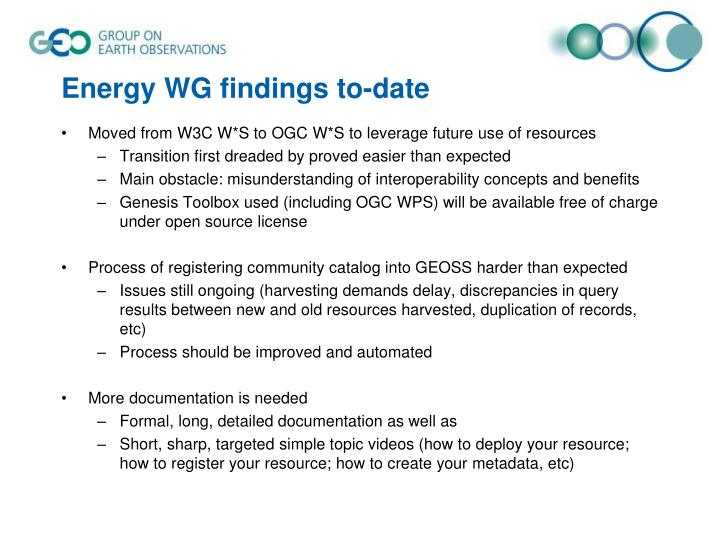 Energy WG findings to-date