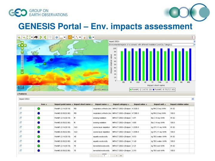 GENESIS Portal – Env. impacts assessment