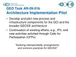 geo task ar 09 01b architecture implementation pilot