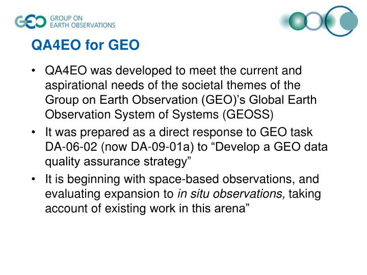 QA4EO for GEO