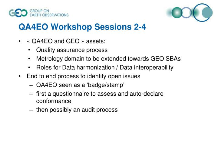 QA4EO Workshop Sessions 2-4