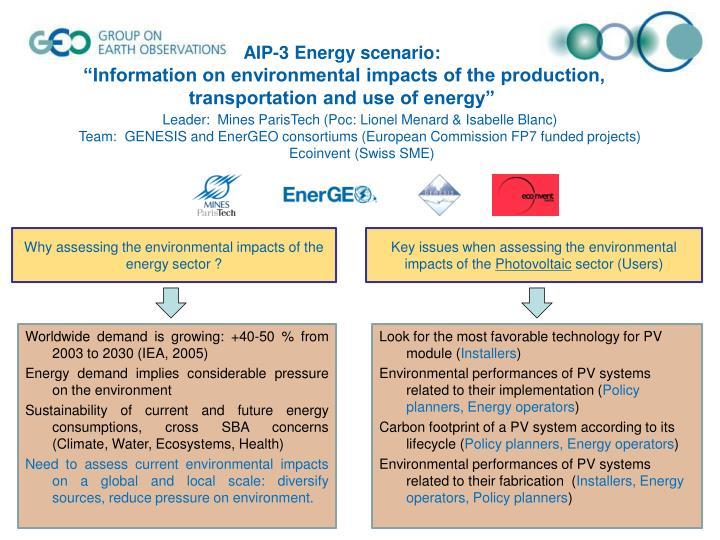 AIP-3 Energy scenario:
