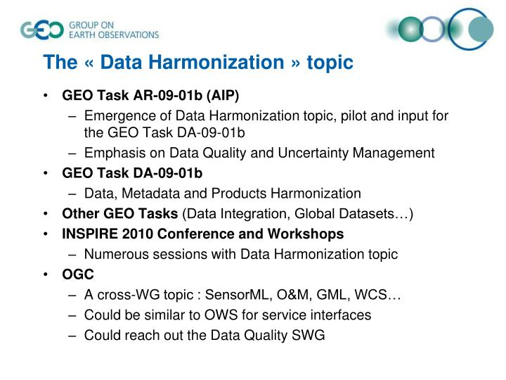The « Data Harmonization » topic