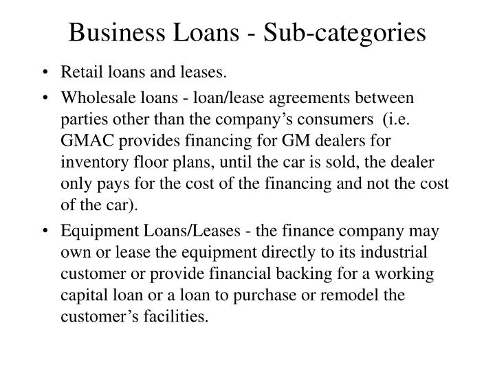 Business Loans - Sub-categories