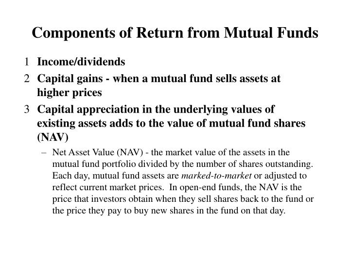 Components of Return from Mutual Funds