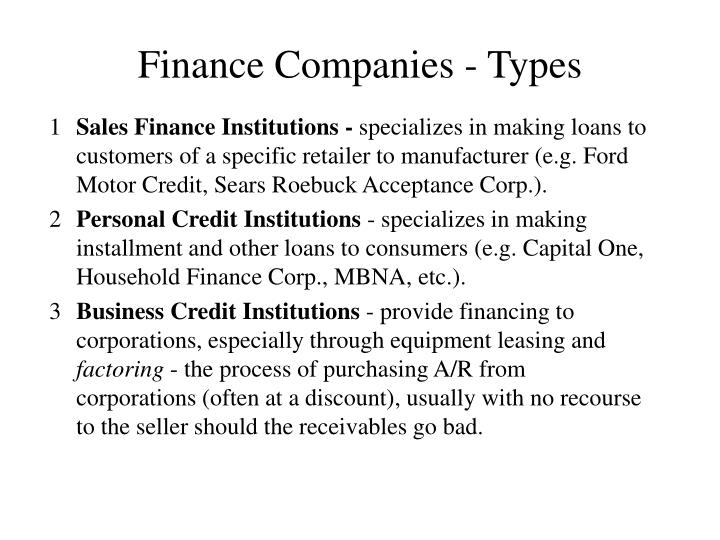 Finance Companies - Types
