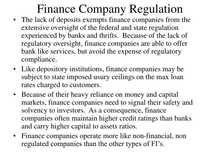 Finance Company Regulation