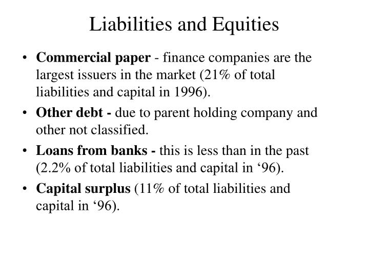 Liabilities and Equities