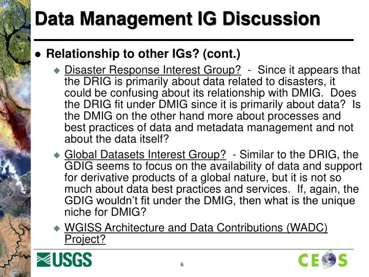 Data Management IG Discussion