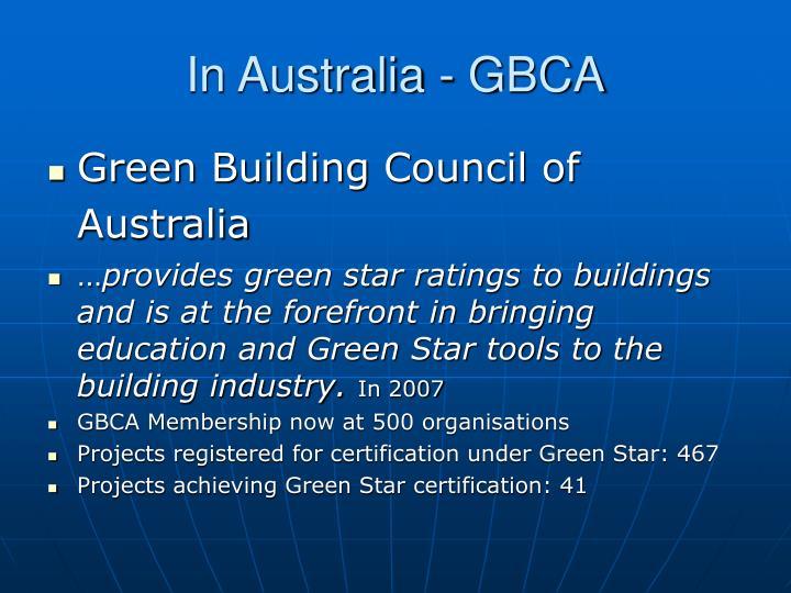 In Australia - GBCA