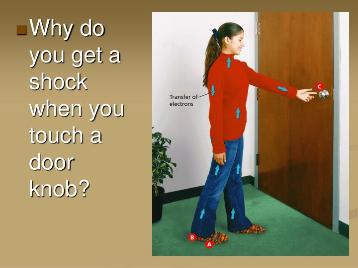 Why do you get a shock when you touch a door knob?