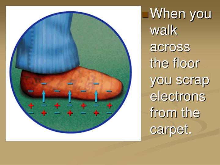 When you walk across the floor you scrap electrons from the carpet.