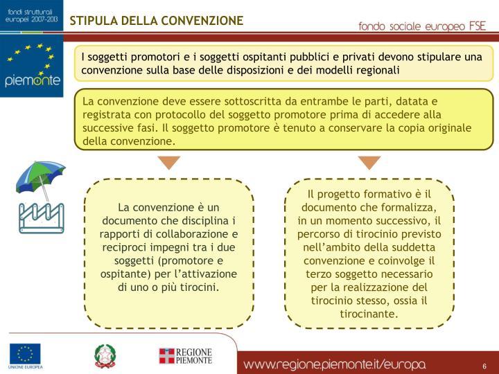 STIPULA DELLA CONVENZIONE