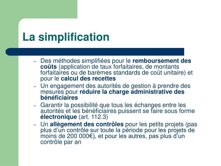 La simplification