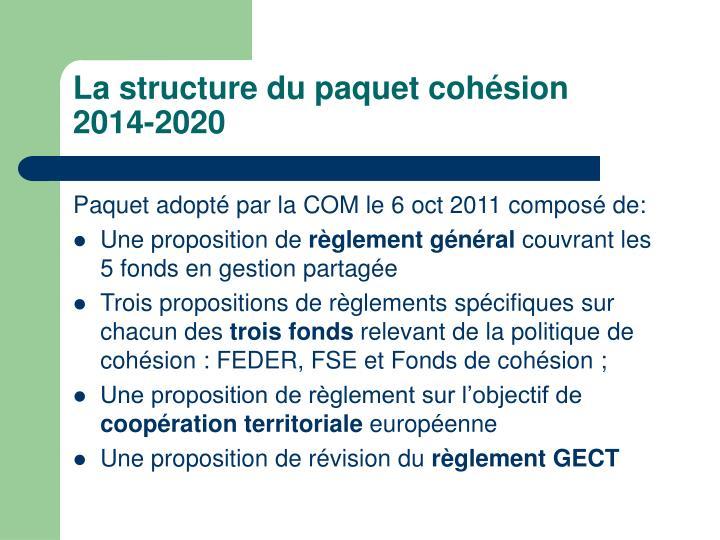 La structure du paquet cohésion