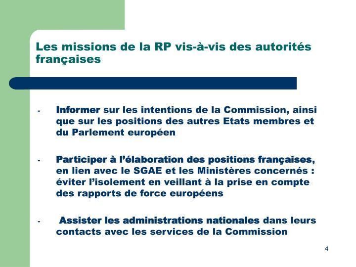 Les missions de la RP vis-à-vis des autorités françaises