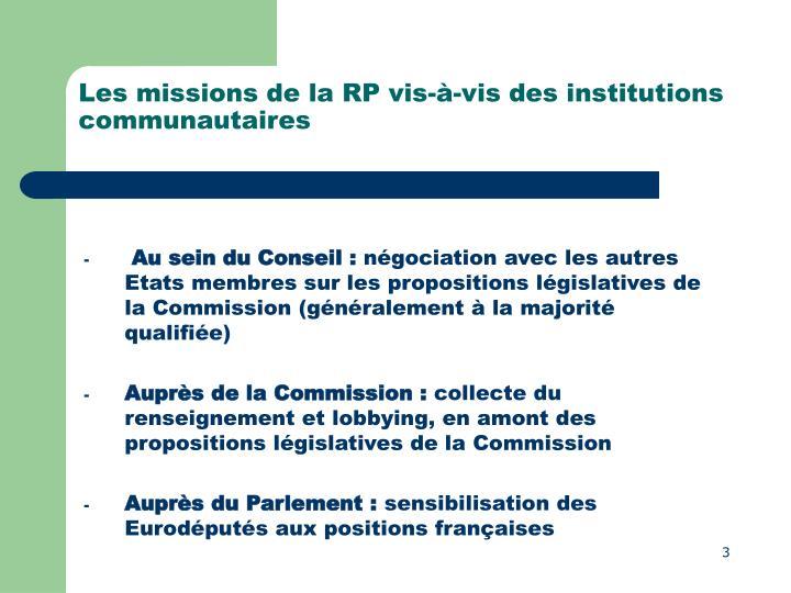 Les missions de la RP vis-à-vis des institutions communautaires