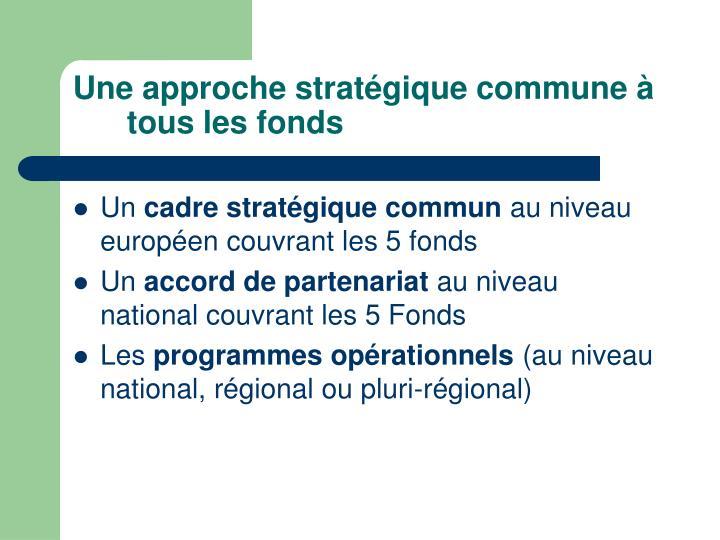 Une approche stratégique commune à tous les fonds